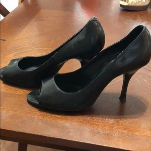Black Leather Peep Toe 2.5 Inch Pumps